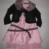 шикарное нарядное платье с кофтой и воротником Coccobello на 4-5 лет