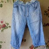 голубые джинсовые летние бриджи-капри 28р