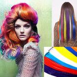 Цветные пряди локоны для волос на заколках, 61 см., опт и розница