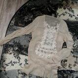 блуза экрю нюдовый кружево стразы Турция