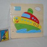Деревяная игрушка Рамка - вкладыш транспорт - пазл
