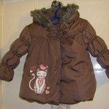 Бесподобная деми куртка с кошечкой и куртка-ветровка девочке 86-98