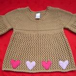 красивая туника реглан в сердечках для девочки от 2 до 4 лет