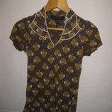 горчичная футболка блузка Zara, 8-10 р-р