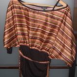 кофта Sabra черная в цветную поску р. М
