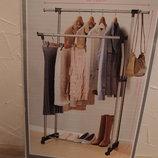 Двойная стойка-держатель для одежды,вешалка с подставкой для обуви