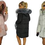 Женская зимняя куртка с мехом на карманах