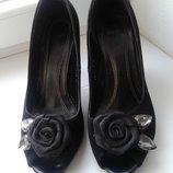 Туфли черные замшевые классика