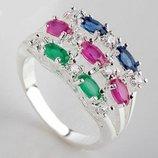 Кольцо серебро изумруд, рубин 18р.