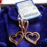 Акция Золотые серьги сердечки 585 пробы.