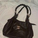 сумка CHANEL среднего размера шоколадного цвета Экокожа
