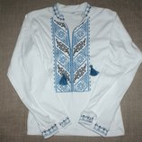 новая вышиванка вышивка на 6-7 лет 34 68 на 110-118 рост вышиванка с длиннымы рукавами синяя