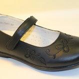 Кожаные туфли для девочки, р.33-37