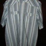 Мужская брендовая рубашка с коротким рукавом на кнопках Размер XL, высокий рост