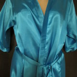 халат атласный красивый голубой