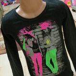 реглан, футболочка с ярким принтом не девочку 8-9 лет