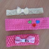 повязка девочке на голову 0-1,5 года детская 2-4 лет бант бабочка розовая в горошек