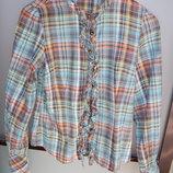 рубашка, блузка с длинным рукавом в цветную полоску, р. М