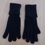 перчатки взрослые женские ченные осень зима с камушками Marks&Spencer Маркс и Спенсер гламурные