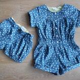шорты детские 2-3 года 92-98 см девочке тонкий джинс.. Mini Club синие голубые бабочки новые