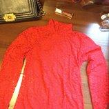 Красный ажурный прозрачный гольфик, размер XS-S-M