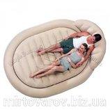 Велюр кровать 67397 бежевая, круглая