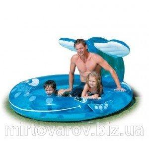 Детский надувной бассейн Intex 57435 «Веселый кит» с распылителем 208 х 163 х 99