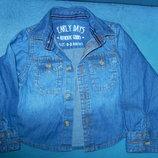 Новая джинсовая рубашечка 0-3 мес.62 см рост