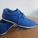 кроссовки кеди мокасины мужские 27см кожаные тканевые СНИГЕРСЫ яркие синые 43 рр
