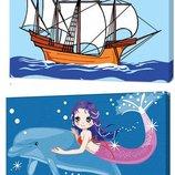 Корабль и русалка - Картина по номерам 20 30 рамка, кисточки, краски