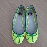 туфли сабо балетки женские эспадрильи 24,3 см стелька яркие салатовые YES O NO как новые