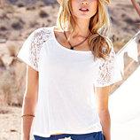 Victoria Secret, Сша новая футболка белая хлопок кружево р. Хs в наличии