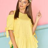 Красивая летняя блуза, цвета желтый, белый, бирюза, синий, красный, размеры 44-50