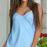Стильная летняя шелковая майка, цвета голубой, синий, сирень, красный, размеры 44-54
