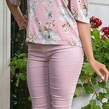 Летняя шелковая блуза с принтом, цвета розовый, голубой, желтый, размеры 44-54