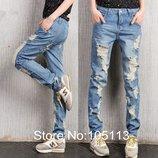 джинсы РВАНые женские - хит- -бойфренд-потертые брюки