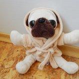 мягкая игрушка, собака, собачка, пес, песик, щенок в халате, глазастик