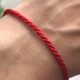 Красная нить серебряная браслет 4036