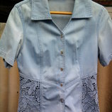 Голуба джинсова рубашечка