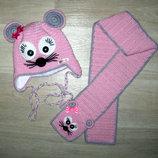 Демисезонная шапка на флисе шарф для девочки handmade ручная работа Hand Made