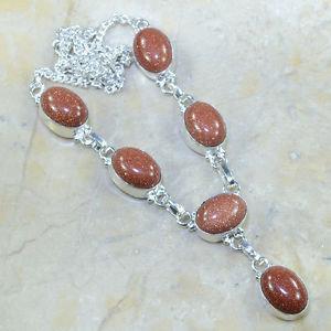 Ожерелье В Серебре стерлинг 925проба.ЗОЛОТОЙ Песок-Авантюрин