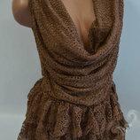 Изумительное Кружевное платье с рюшами из Италии ШОКОЛАД и Черное