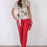 Льняные летние брюки штаны для беременных беж, красный, синий