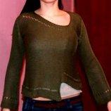 Асиметричный ажурный свитер 44-46р