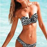 Черно-белый купальник-бандо с пуш-ап Victoria s Secret Реплика