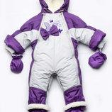 Детский зимний комбинезон-трансформер на меху для девочки Бабочки 03-00525