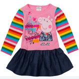яркое стильное детское платье туника с длинным рукавом свинка пеппа