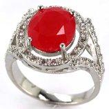 Шикарное кольцо КРАСНЫЙ РУБИН 925пр 18,5размер