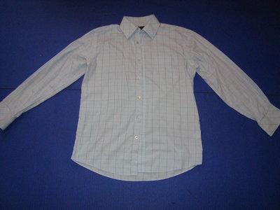 Рубашка мужская с длинным рукавом голубая тонкая в клетку среднюю. Burton 15 1/2 in EURO 39/40