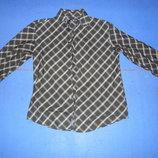 Рубашка мужская с длинным рукавом черная в белую клеточку Размер М